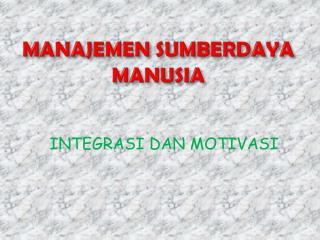 MANAJEMEN SUMBERDAYA MANUSIA