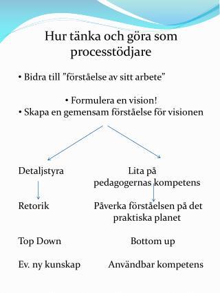 """Hur tänka och göra som processtödjare  Bidra till """"förståelse av sitt arbete"""""""