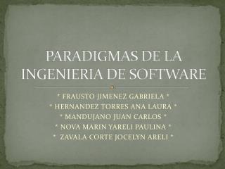 PARADIGMAS DE LA INGENIERIA DE SOFTWARE