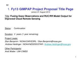 1 .  Fy13 GIMPAP Project Proposal Title Page version 01 August 2013