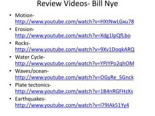 Review Videos- Bill Nye