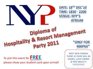 Diploma of  Hospitality & Resort Management Party 2011