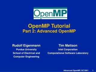 OpenMP Tutorial Part 2: Advanced OpenMP
