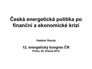 Česká energetická politika po finanční a ekonomické krizi