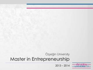 Özyeğin  University Master in  Entrepreneurship