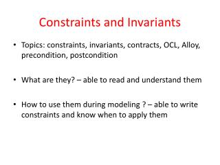 Constraints and Invariants