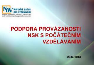 Podpora provázanosti NSK s počátečním vzděláváním 20.6. 2013