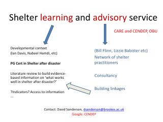 Shelter  learning  and  advisory  service CARE and CENDEP, OBU