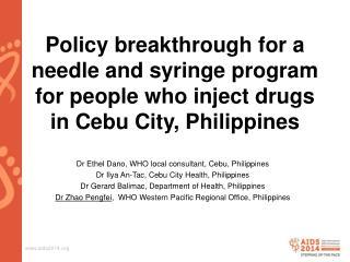 Dr Ethel  Dano , WHO local  consultant, Cebu, Philippines