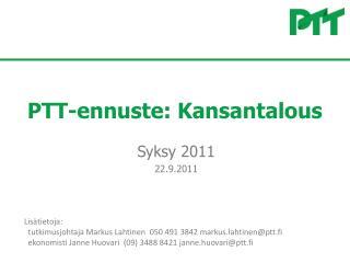 PTT-ennuste: Kansantalous