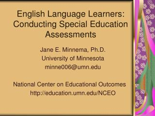 English Language Learners:  Conducting Special Education Assessments
