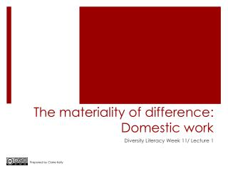 The materiality of difference: Domestic work