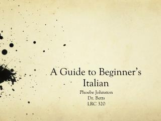 A Guide to Beginner's Italian