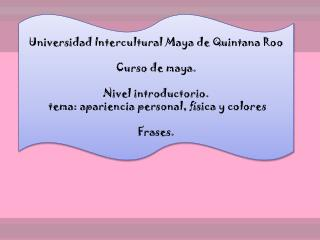 Universidad Intercultural Maya de Quintana Roo Curso de maya. Nivel introductorio.