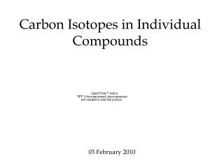 Carbon Isotopes in Individual Compounds