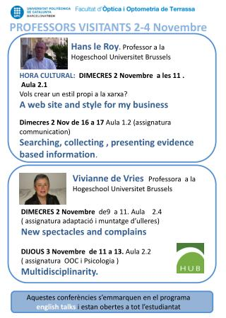 PROFESSORS VISITANTS 2-4  Novembre
