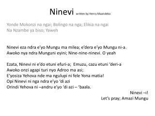 Ninevi written by Henry  Maandebo