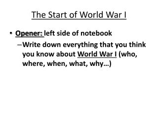 The Start of World War I