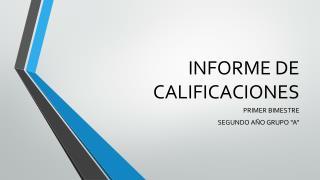 INFORME DE CALIFICACIONES