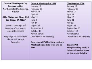 General Meetings for 2014