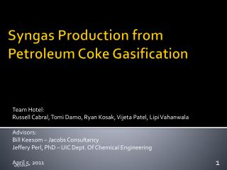Syngas Production from Petroleum Coke Gasification