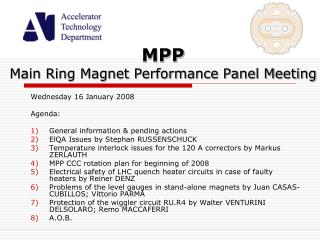 MPP Main Ring Magnet Performance Panel Meeting
