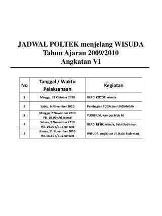 JADWAL POLTEK menjelang WISUDA Tahun Ajaran  2009/2010 Angkatan  VI
