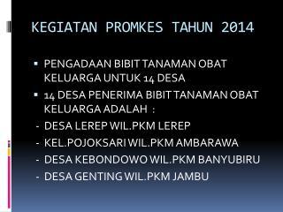 KEGIATAN PROMKES TAHUN 2014