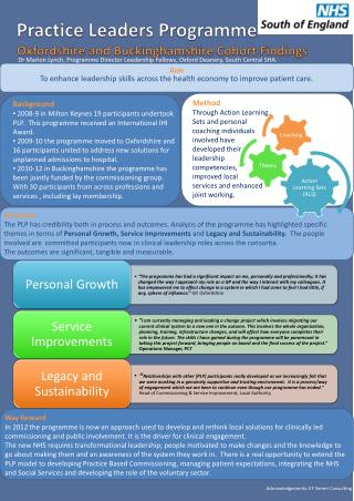 Practice Leaders Programme    Oxfordshire and Buckinghamshire Cohort Findings