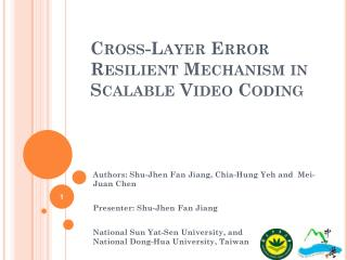 Cross-Layer Error Resilient Mechanism in Scalable Video Coding