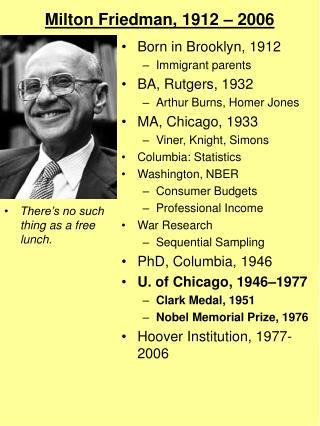 Milton Friedman, 1912   2006
