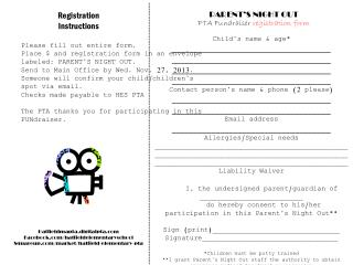 PARENT'S NIGHT OUT PTA  Fundraiser  registration form