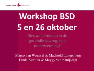 Workshop BSD 5 en 26 oktober