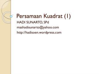 Persamaan Kuadrat (1)