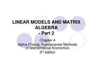 LINEAR MODELS AND MATRIX ALGEBRA - Part 2