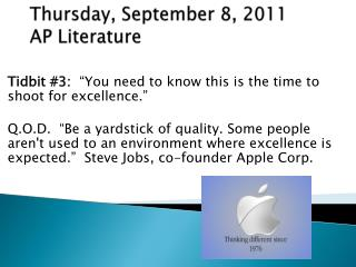 Thursday, September 8, 2011 AP Literature