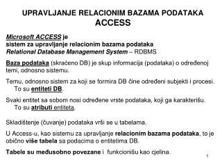 UPRAVLJANJE RELACIONIM BAZAMA PODATAKA ACCESS