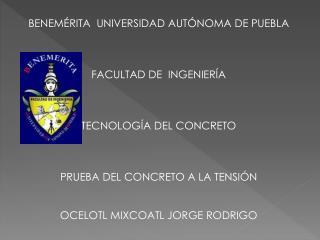 BENEMÉRITA  UNIVERSIDAD AUTÓNOMA DE PUEBLA  FACULTAD DE  INGENIERÍA  TECNOLOGÍA DEL CONCRETO