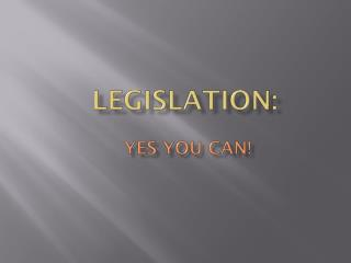 Legislation :  Yes You  can!