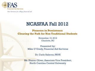 NCASFAA Fall 2012