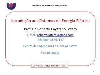 Introdução aos Sistemas de Energia Elétrica Prof. Dr. Roberto  Cayetano Lotero