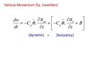 Vertical Momentum Eq. (rewritten)