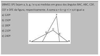 Na figura abaixo, calcule o ângulo x, sendo y o  triplo de  z e t o sêxtuplo de z .