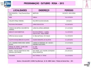 PROGRAMAÇÃO   OUTUBRO   ROSA  -  2013