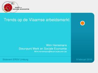 Trends op de  Vlaamse arbeidsmarkt