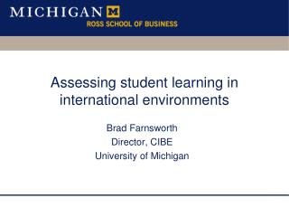 Assessing student learning in international environments