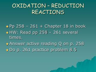 OXIDATION – REDUCTION REACTIONS