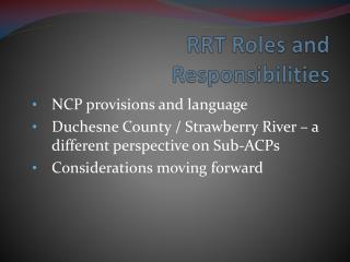 RRT Roles and Responsibilities