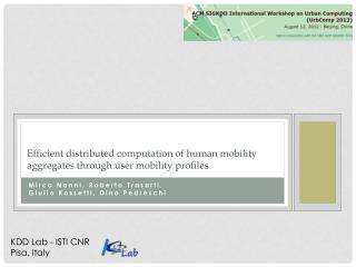 Efficient distributed computation of human mobility aggregates through user mobility profiles