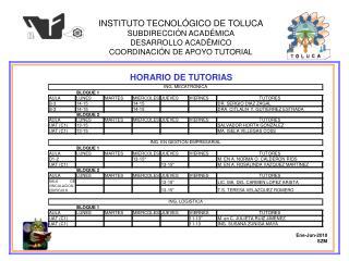 INSTITUTO TECNOLÓGICO DE TOLUCA SUBDIRECCIÓN ACADÉMICA DESARROLLO ACADÉMICO
